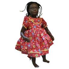 "17""  Artist Black Wax Doll with Glass Eyes"