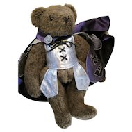 Brown Vermont Teddy Bear with Tag and Clothes