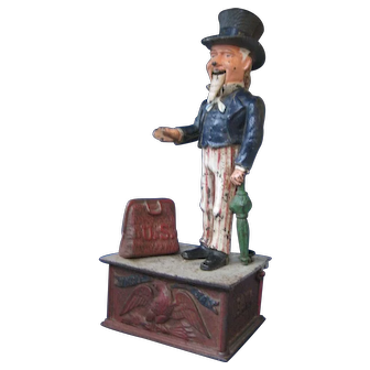 Antique Original Shepard Hardware-Uncle Sam-Cast Iron Mechanical Bank 1886