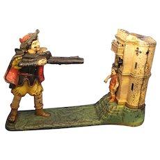 Antique J. & E. Stevens Cast Iron William Tell Shooter Mechanical Bank