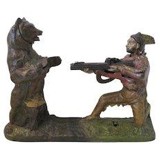 Antique J. & E. Stevens Cast Iron Indian and the Bear Shooter Mechanical Bank