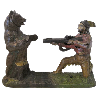 Antique J. & E. Stevens Cast Iron Indian and the Bear Shooter Mechanical Bank
