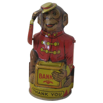 Tin Monkey Mechanical Bank--Early 20th C. marked Chein
