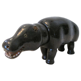 Schoenhut Earliest Glass-Eye Hippo with Ball Neck