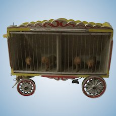 Antique Wooden Circus Wagon with 4 Celluloid Tigers from early 1900's