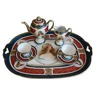 Antique Austrian Royal Vienna Style Porcelain Portrait Tete-a-Tete Tea Coffee Set on the Tray
