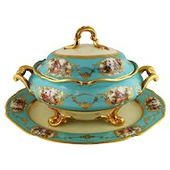 Large Vintage Porcelain Tureen  and Platter Set Celeste Blue Aqua Gold