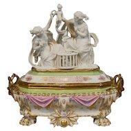 Antique  Old Paris Porcelain Jewelry Box Casket with Parian Figural Group Top