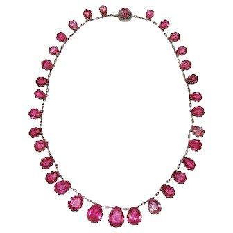 Antique Pink Tourmaline Riviere Necklace ca 1880