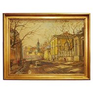 Russian  Oil on Canvas Painting Moscow  Street Landscape
