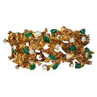 Vintage Free Form Abstract 14K Gold Diamond Emerald Bracelet