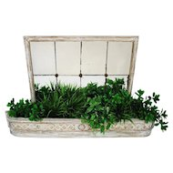 Antique White Wood Planter Mirror Jardiniere Swedish Style