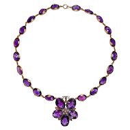 Antique Amethyst Gold Necklace Flower