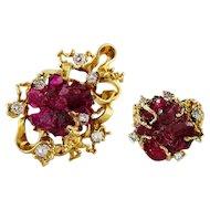 Freeform Chatham Ruby Type Crystal Diamond 18K Gold Pendant Ring Set Vintage