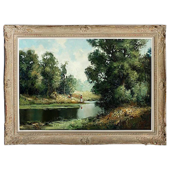 Vintage Landscape Oil on Canvas Painting Ingrfried Henze/Paul Morro