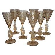 Set of 6 Venetian Glass Liquor Stemware Swans