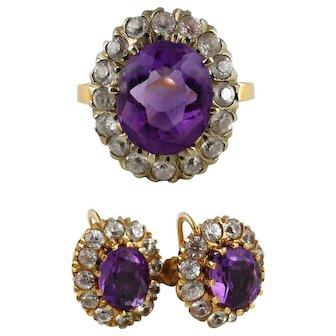 Vintage Amethyst White Sapphire 14K Gold Ring Earrings Set