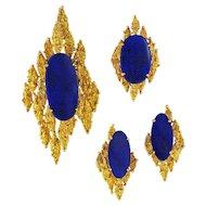 Vintage Modernist 14K Gold Lapis Ring Pendant Earrings Set
