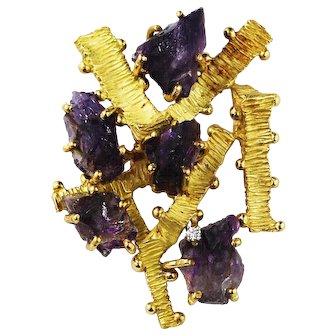 Vintage 18K Gold Raw Amethyst Pin Brooch