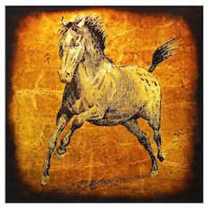 Horse Painting on Glass Gold Silver Leaf by Jack White, circa 1970