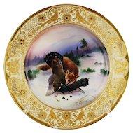 Dresden Game Dinner Plate Fox Fowl Gilt