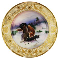 Dresden Hand Painted Game Cabinet Plate Fox Fowl Gilt