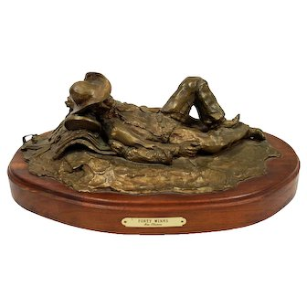 """Bronze Sculpture """"Forty Winks"""" Western Cowboy Texas by Jim Thomas"""