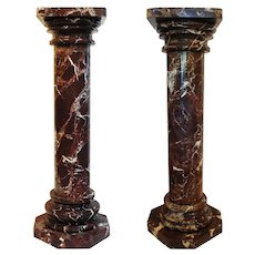 Pair of Red Marble Pillar Column Pedestals