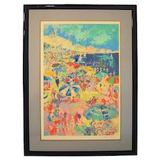 """Leroy Neiman Serigraph """"Beach at Cannes"""" French Riviera, 1979"""