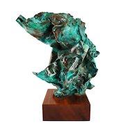 Jacob Colburn Copper Sculpture Abstract Modern Aqua Green