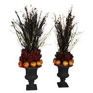 Pair of Fruit Plant Vases Centerpiece Pomegranate Floral