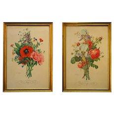 Jean Louis Prevost Pair of Vintage Still Life Flower Prints Botanical