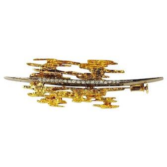 Vintage Gold Diamond Brooch Pin Brutalist Modernist Grima Style 18K