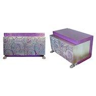 2 Italian Cabinets Silver Purple Designer Carlo Rampazzi  Modern