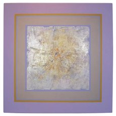 Abstract Mixed-Media Painting Canvas Purple Silver Leaf Vintage