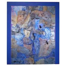 Abstract Blue Silver Leaf Mixed Media Painting Canvas Vera Simons