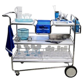 Bar Cart Set Trolley Acrylic Barware by Bombay Sapphire