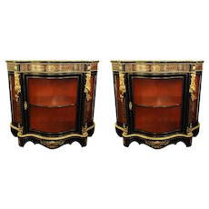 Boulle Style Cabinets Displays Pair Vintage, circa 1970