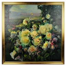 Oil on Canvas Still Life Floral Peonies Landscape