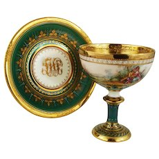 Ambrosius Lamm Dresden Painted Footed Cup and Saucer Gilt Romantic