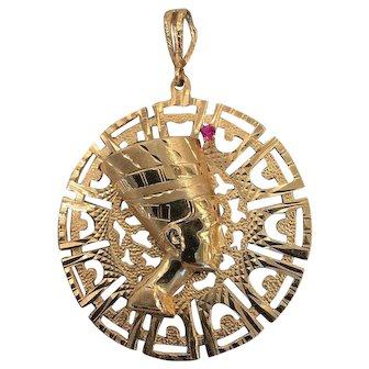 Vintage 14k Gold Nefertiti Pendant large