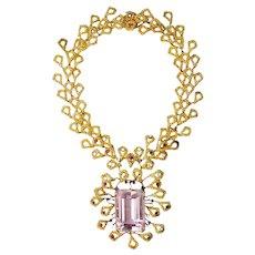Gold Necklace Large Kunzite, Ruby, Diamond by Barbara Anton