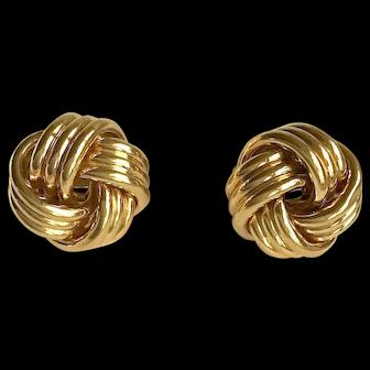 Tiffany & Co. 18K Gold Love Knot Clip Earrings