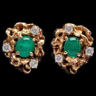 Free Form Emerald Diamond 14K Gold Earrings
