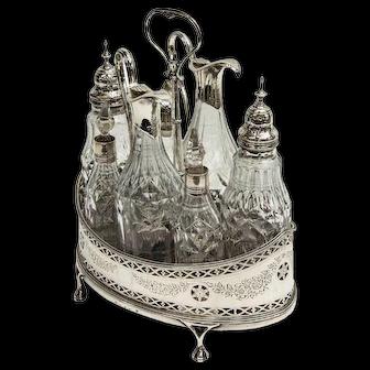 Hester Bateman Sterling Silver Crystal Cruet Set Antique Georgian