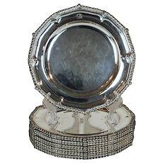 12 Paul Storr Silver Dinner Plates Antique