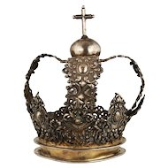 Antique 18 century Hand Wrought Silver Crown Cross Peru