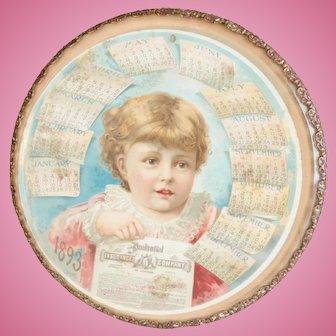 1893 Prudential Insurance Calendar Framed in a Bevel Glass Dresser Troy