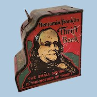 Benjamin Franklin Vintage Tin Cash Register Bank