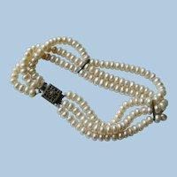 Sterling & Pearl Triple Strand Bracelet